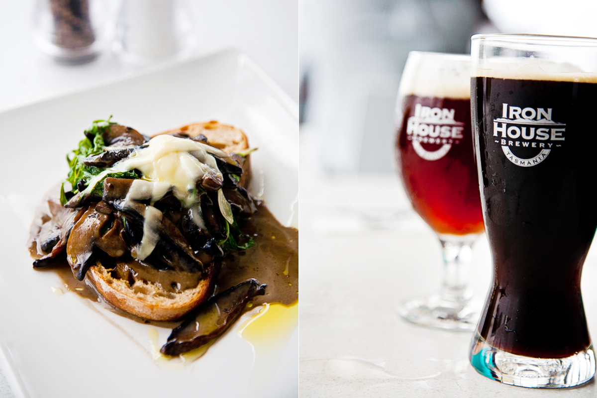 Mushroom bruschetta and beer, stout and ale, at the Iron House Brewery in Tasmania